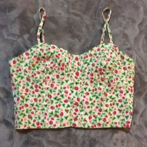 H&M strawberry pinup doll bustier corset crop top